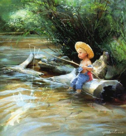 Анимация Мальчик ловит рыбу по картине американского художника Дональда Золана / Donald Zolan