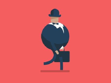 Анимация Бизнесмен энергично шагает, помахивая портфелем