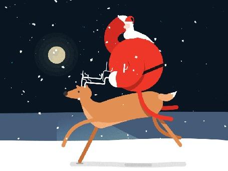 Анимация Санта - Клаус мчится верхом на олене навстречу Рождеству