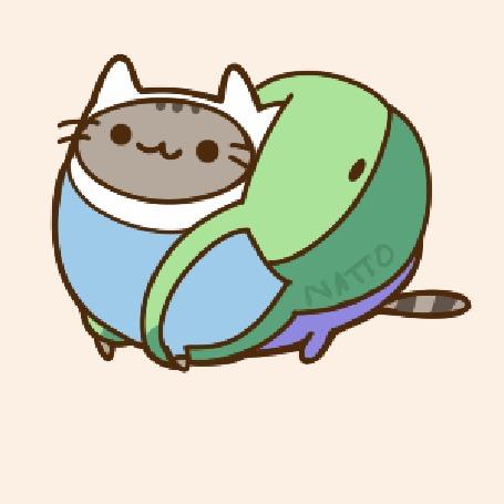 Анимация Pusheen the Cat / Кот Пушин в образе Финна / Finna, by natto-ngooyen