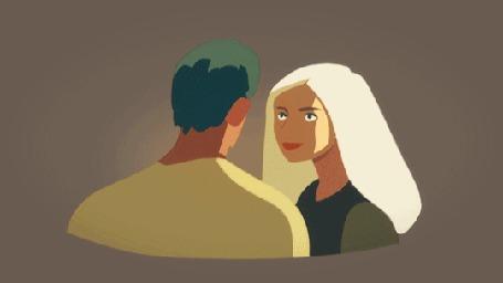 Анимация Девушка целует парня