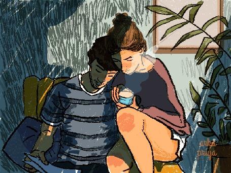 Анимация Девушка сидит рядом с парнем с чашкой чая