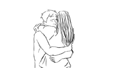 Анимация Парень обнимает девушку