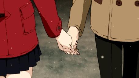 Анимация Парень и девушка держат друг друга за руки