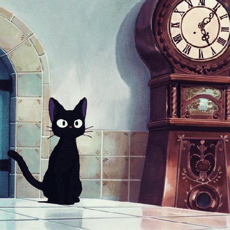 Анимация Jiji / ДжиДжи смотрит на часы, аниме Kikis Delivery Service / Ведьмина служба доставки