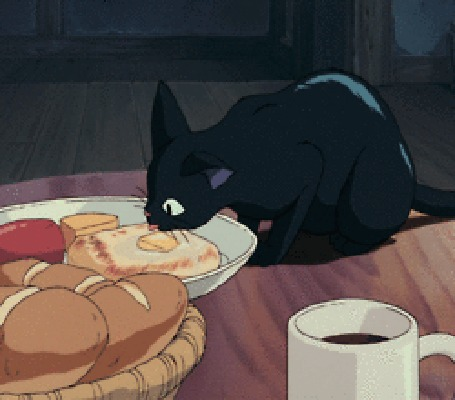 Анимация Jiji / ДжиДжи с аппетитом облизывает масло с бутерброда, аниме Kikis Delivery Service / Ведьмина служба доставки