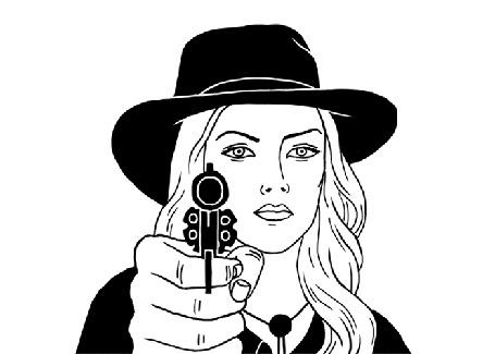 Анимация Девушка в шляпе с пистолетом