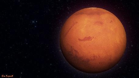 Анимация Планета Марс вращается в космическом пространстве