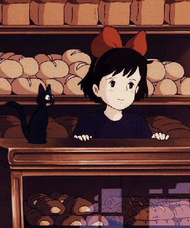 Анимация Kiki hzljv рядом c Jiji / Джиджи сидят в лавке, аниме Kikis Delivery Service / Ведьмина служба доставки