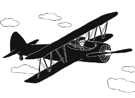 Анимация Девушка летит на самолете