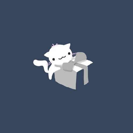 Анимация Котик обвязывает язычком-ленточкой коробочку, которую уносит на спинке другой котик