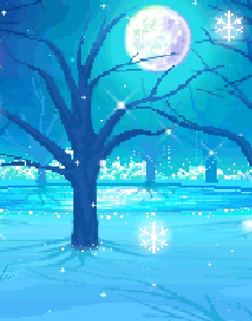Анимация Красивые снежинки падают на деревья и замерзшую землю, в небе полная луна