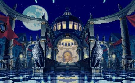 Анимация В лунной ночи виден храм, посвященный богине, он украшен флагами и статуями диковинных птиц