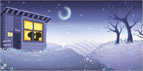 Анимация Влюбленные целуются в маленьком домике