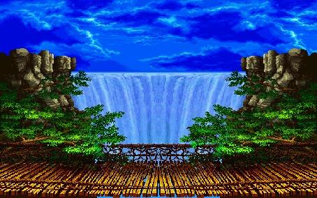 Анимация Красивый водопад низвергается вниз с большой высоты