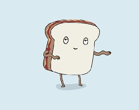 Анимация Вкусный бутерброд прикольно танцует