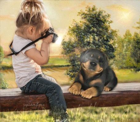 Анимация Девочка фотографирует собаку