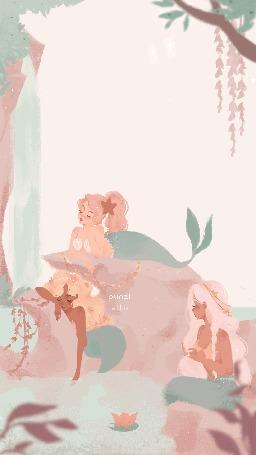 Анимация Русалки скучают возле водопада, by punziella