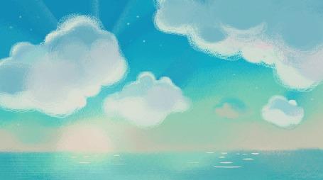 Анимация Белые облака над водой