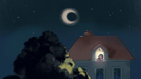 Анимация Девушка из окна смотрит на луну