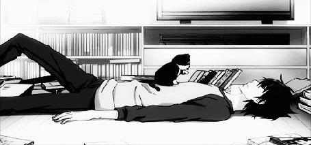 Анимация Котенок умывается, сидя на парне. Аниме:Лучшая в мире первая любовь