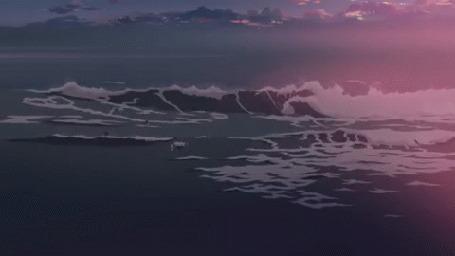 Анимация Ночное бушующее море, аниме 5 сантиметров в секунду