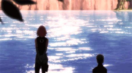 Анимация Сакура Харуно и Наруто Узумаки у моря, аниме Naruto / Наруто