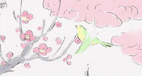 Анимация Птичка слетает с цветущей ветки. Аниме:Наши соседи Ямада
