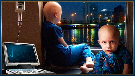Анимация У окна сидят дети с онкологией и смотрят на вечерний город