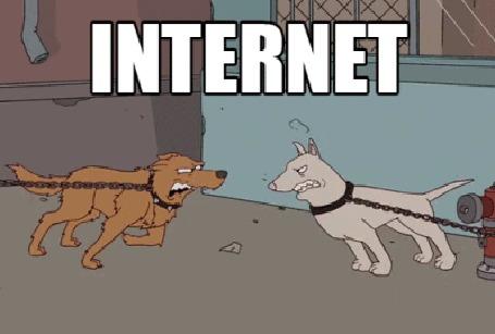 Анимация На примере двух собак, которые без привязи сразу же перестали лаяться и разбежались, показана разница между реальностью и Интернетом (Reality Internet / Реальность Интернет)