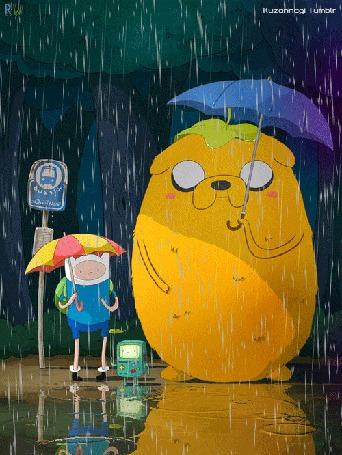 Анимация Финн и Джейк из мультсериала Adventure Time / Время Приключений в стиле Тоторо, by Kuzonnogi Tumblr