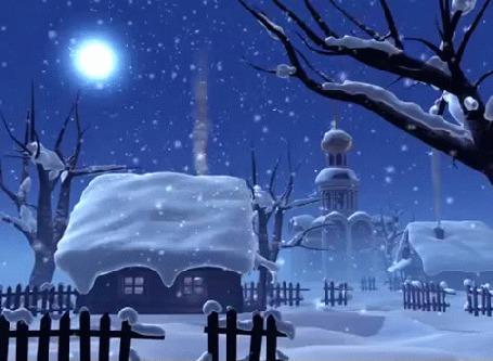Анимация Падающий снег в ночной деревне