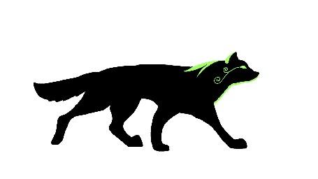 Анимация Идущий черный волк на белом фоне