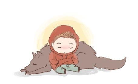 Анимация Мальчик сидит возле собаки