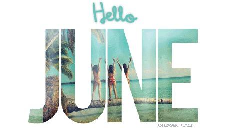 Анимация Надпись, на буквах которых изображены летние моменты, (Hello June / привет июнь)