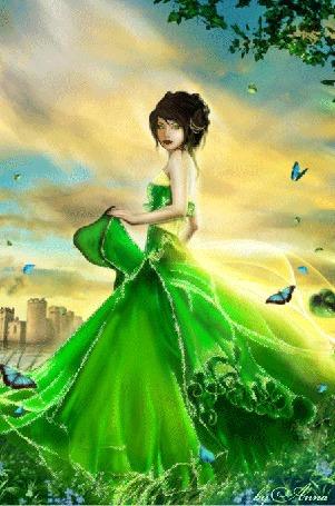 Анимация Девушка в салатовом платье в окружении бабочек стоит на фоне неба