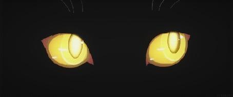 Анимация Желтые глаза кошки из аниме Истории монстров / Bakemonogatari