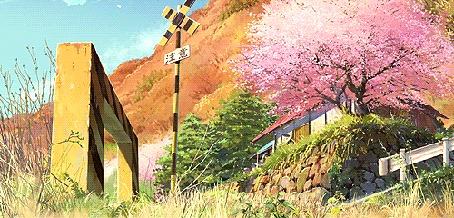 Анимация У домика стоит цветущее весеннее дерево. Аниме:Ловцы забытых голосов