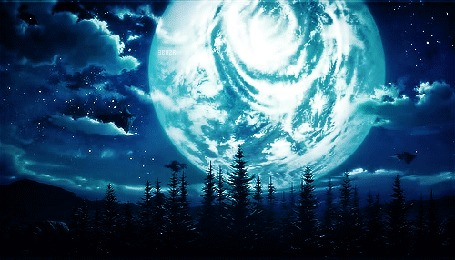 Анимация Огромная луна на ночном облачном небе. Аниме: sword art online