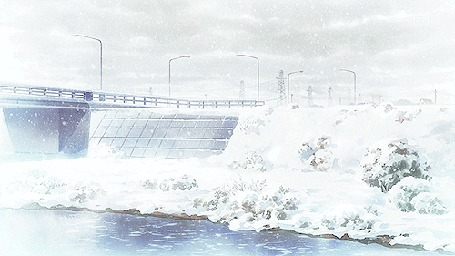 Анимация Снегопад над рекой. Аниме:Дотянуться до тебя