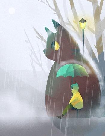 Анимация Девочка с зонтиком и большая кошка сидят под дождем, by Jenny Yu