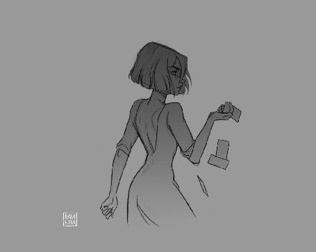 Анимация Девушка с карточкой в руке вращается
