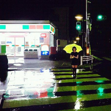 Анимация Процесс рисования девушки с желтым зонтом, которая переходит улицу по переходу, by Кувшинов Илья