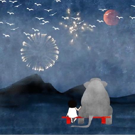 Анимация Девочка и слон сидят на лавочке и смотрят на салют в ночном небе, by Catherine Macorol