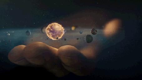 Анимация Над ладонью в космосе летают планеты