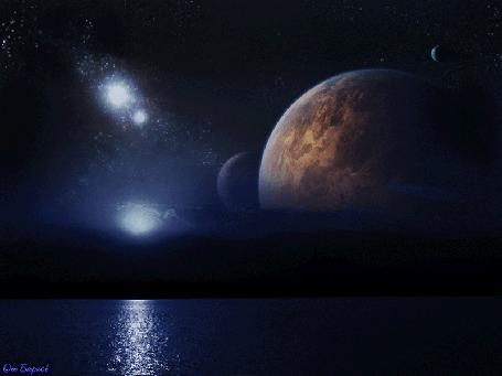 Анимация Фантастическая ночь на другой планете