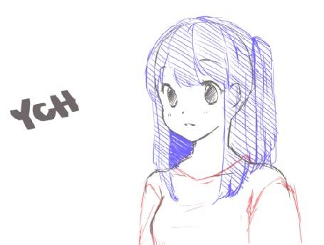 Анимация Нарисованная девушка мило улыбается наклоняя голову в сторону, by Nachooz