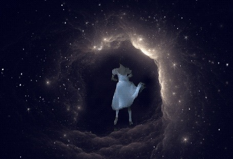 Анимация Танцующая балерина под падающими звездами
