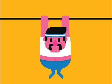 Анимация Усатый толстяк подтягивается на перекладине