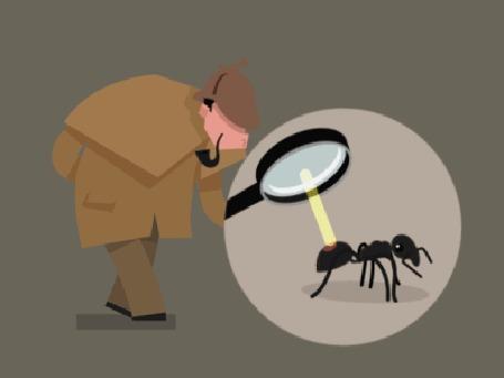 Анимация Шерлок Холмс рассматривает в лупу муравья